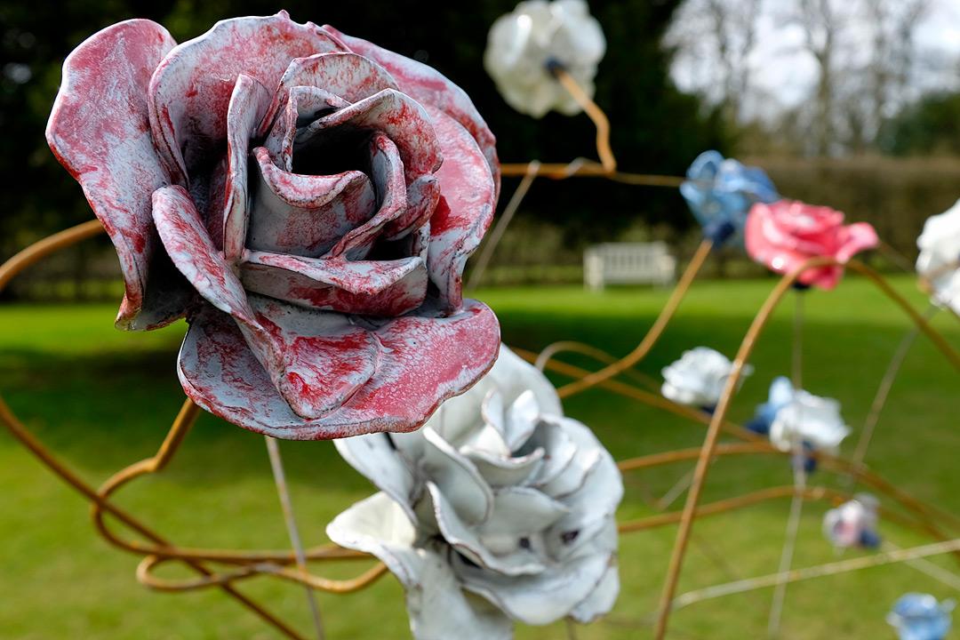 Ceramic Installation for the English Flower Garden Installation at Hardwick Hall